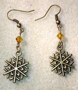 Snowflake Earrings - Antique Bronze