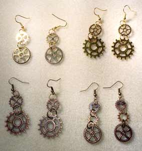 Steampunk Earrings - Gold, Antique Gold, and Antique Bronze